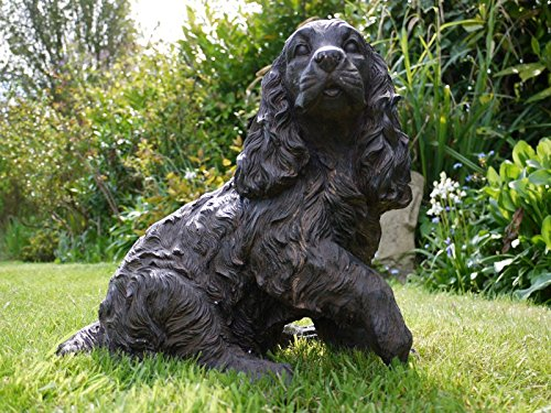 Cocker Spaniel Dog Cast Iron Effect Garden Statue ~ Bronzed Effect