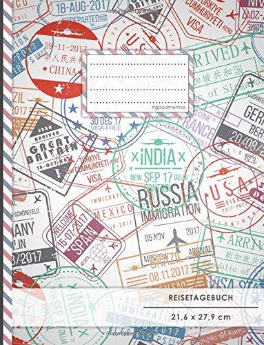 """Reistetagebuch: DIN A4, """"Stempel"""", 70+ Seiten, Softcover, Register, Kontaktliste • Original #GoodMemos Travel Diary • Reiselogbuch zum Selbstgestalten"""