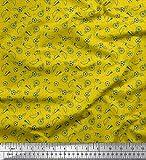 Soimoi Gelb Baumwoll-Voile Stoff Pfeife, Schuhe und