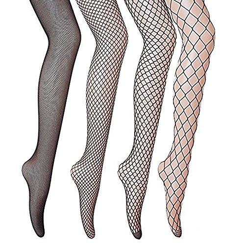 Netzstrumpfhosen, Gvoo 4 Stück 4 Stile Sexy Fischernetz Strumpfhosen für Damen Kostüm Fasching - Schwarz (Fischnetz-damen Strumpfhose)