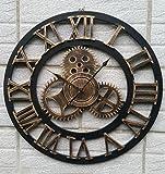 Metallo orologio da parete preciso --- Orologio di parete creativo di legno Retro ingranaggi Grande gancio della vigilanza della parete Living sveglia Camera parete 40/50/60 / 80cmFestive Gifts --- 1 x batteria AA (non incluse) ( Colore : 60cm , dimensioni : A )
