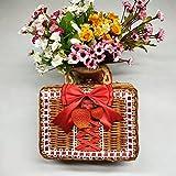 Z@SS DIY Dekoration Picknickkorb, Rattan Woven Holzrahmen Aufbewahrungskorb Box Und Reisekoffer Vintage Hamper Für Zuhause,C