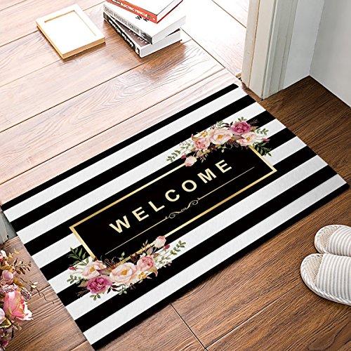 KCOUU Welcome Fußmatte, Blume Streifen-Muster Rutschfeste Gummi Welcome Mats Boden Teppich für Badezimmer/Front Diele, Flanell, 16X24