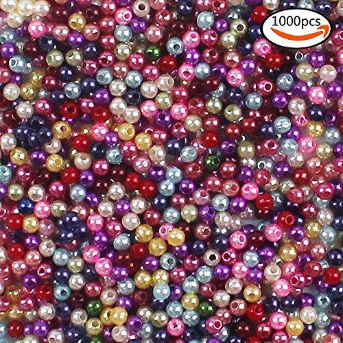 Whonline 1000 4mm bunte künstliche Perlen Holzperlen geeignet für Schmuckherstellung und Heimwerken Halskette Armband von den Kindern