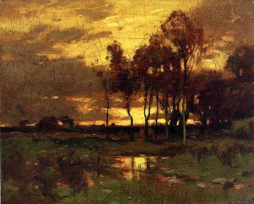 hand-painted-oil-painting-24-x-19-inches-61-x-48-cm-john-francis-murphy-sunset-landscape
