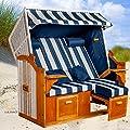 Strandkorb Ostsee BWH XXL, Bezug blau-weiß Blockstreifen, mit Hülle, montiert, LILIMO ® von LILIMO ® - Gartenmöbel von Du und Dein Garten