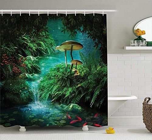 Fantasy House Decor Collection Blick auf den Fantasy River mit einem Teichfisch und einem Pilz in Dschungelbäumen Moos Eden Bad Duschvorhang Set mit Grün Blaugrün Rot (Bad Moose Set)