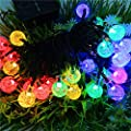 Uping Waterproof Solar Crystal Ball Lights of 8 Modes | 21 ft 30 LED Outdoor Fairy String Lights | for Christmas party Garden | Multi Colour