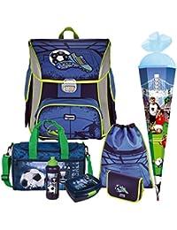 9bd3f0ce53846 SOCCER BLUE - Fußball Football - BAGGYMAX SIMY Leicht-Schulranzen-Set 7tlg.  Hama mit…