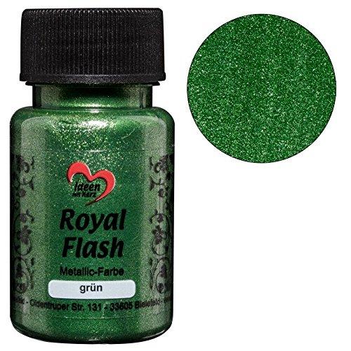 Royal Flash, Acryl-Farbe, metallic, mit feinsten Glitzerpartikeln, 50 ml (grün)