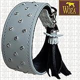 Woza Premium Whippet Halsband 4,4/37CM Diamonds Swarovski Steine Vollleder WEIß Rindleder Nappa SCHWARZ WINDHUND Handmade Greyhound Collar