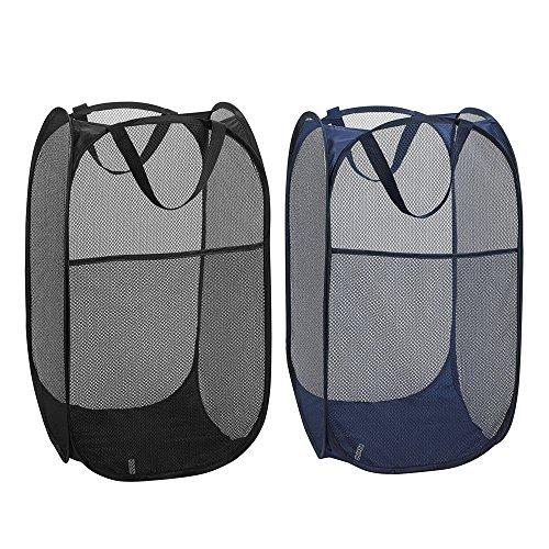 2Stück faltbar Pop-Up Wäschesammler mit Seitentasche, robustem Netzstoff behindern Kleidung Wäschekorb Aufbewahrungstasche mit verstärkte Tragegriffe für schmutzige Kleidung, schwarz und blau