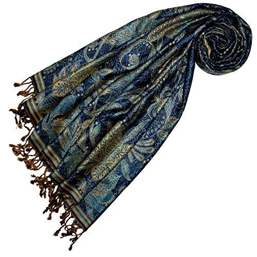 LORENZO CANA Marken Pashmina Schal Schaltuch Stola Umschlagtuch Naturfaser opulentes Muster in harmonischen Farben mit Fransen 70 x 200 cm 78439