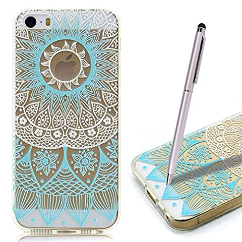 Coque iPhone 5S , iPhone SE Etui TPU , CaseLover Fee Motif Mode Etui Coque TPU Slim pour Apple iPhone 5 / 5S / SE Mode Flexible Souple Soft Case Couverture Housse Protection Anti rayures Mince Transparent Silicone Cover - Mandala Bleu