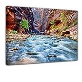 """Bilderdepot24 Leinwandbild """"Blick auf den Virgin River im Zion National Park - Utah USA"""" XXL - 60x80 cm 1 teilig - fertig gerahmt, direkt vom Hersteller"""