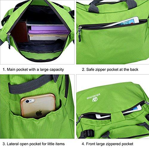Vbiger Borse Messenger e a Tracolla in Nylon Impermeabile per Donna con PC Verde