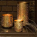 Lighthaus Candles Metallic Candle Holders (Golden) - Set of 3