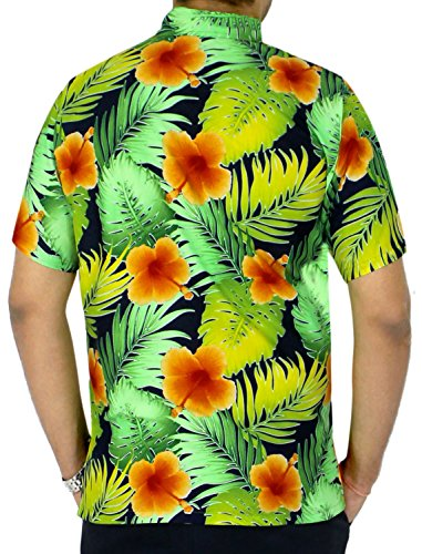 LA LEELA Strand Hawaiihemd Herren XS - 5XL Kurzarm Front-Tasche Hawaii-Print Casual Button Down Hemd Orange Orange