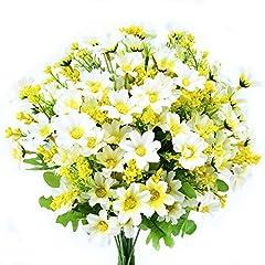 Idea Regalo - Turelifes mazzi di fiori artificiali finti, mini margherita, 7rami 28capi di seta floreali per l'ufficio, la casa, le decorazione di nozze, 4 pezzi White