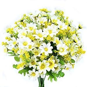 Turelifes – Ramos de flores artificiales (4 unidades, 7 ramas, 28 cabezas de seda, para decoración de oficina, hogar…