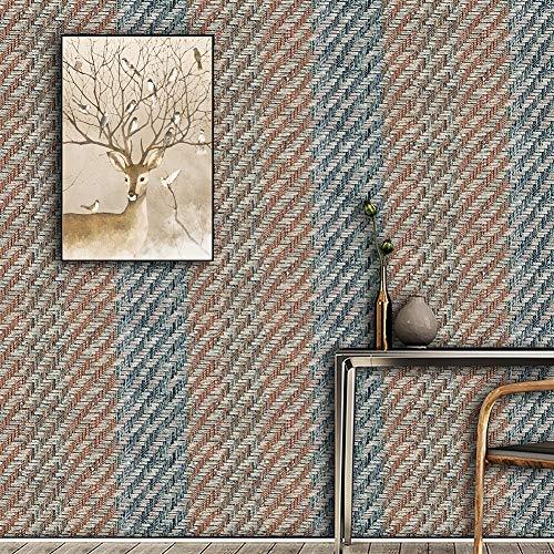 Texturierte Gewebte Tapetenrolle, für Zuhause, Wohnzimmer, Café, Bar, Wanddekoration, 52,1 x 82,1 m Wallpaper 20.8inx393.7in Blue purple/milk white/brown