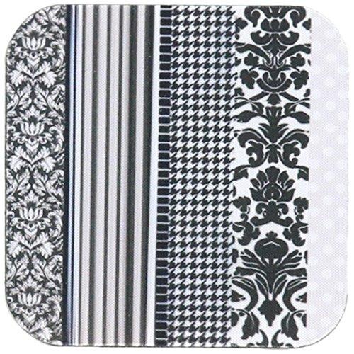 Schwarz Weiß Damast Und Tischsets (inspirationzstore Mustern–schwarz und weiß trendiges Muster mit Damast Hahnentritt Streifen und Polka Dots–Grau Elegant Modern–Untersetzer, Gummi, grau, set-of-8-Soft)