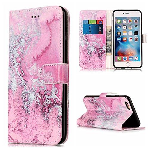 iPhone 6 Plus Hülle iPhone 6S Plus Hülle,Cozy Hut Case / Cover / Handyhülle für iPhone 6 Plus / iPhone 6S Plus Schutzhülle, Kunstleder Ledertasche Schutzhülle Case Tasche,Bunte Drucken Muster PU Leder Rosa Marmor Meer