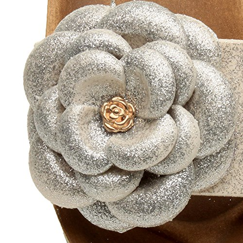 Ajvani Femmes talon moyen compensée paillettes fleur mules sandales claquettes pointure Blanc argent paillettes