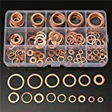 EsportsMJJ 150Pcs Solid Copper Rondelle Tappo Coppa Assorted Rondella Set Di Plastica Scatola 15 Dimensioni