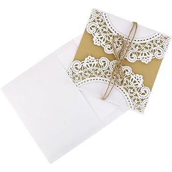 Tinksky Mariage Invitation Carte Carte de Voeux Félicitations Carte Avec Enveloppe Hessienne Cordes, Pack de 10 (Blanc)