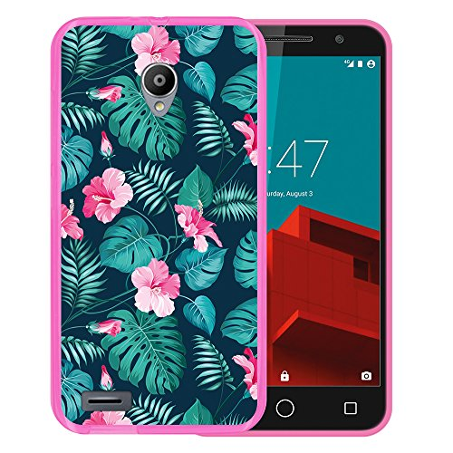 Funda Vodafone Smart Prime 6, WoowCase [ Vodafone Smart Prime 6 ] Funda Silicona Gel Flexible Flores Tropicales 2, Carcasa Case TPU Silicona - Rosa