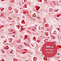 500 g Rocks Herz-Bonbons - süße Tisch-Deko zu Hochzeit Taufe Valentinstag Muttertag Kommunion - Handarbeit zum Naschen - Rosa