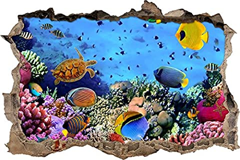 Pixxprint 3D_WD_S2562_92x62 wundervolle Fische im Korallenriff Wanddurchbruch 3D Wandtattoo, Vinyl, bunt, 92 x 62 x 0,02