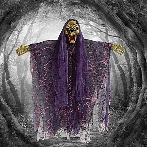 WDERYL Halloween hängende Ghost, Voice Control hängende Ghost Elektro Scary Spruch Hexe Anhänger Bar Dekoration Halloween Party Dekoration Lieferungen,Lila (Scary Sounds, Halloween Teil 1)