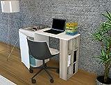 Schreiben Computer-Schreibtisch, modern und einfach–Weiß und hellen Holz farbigen Parted Computer-Schreibtisch Schreibtisch Industrie-Stil–Studie & Laptop Tisch für Zuhause, Büro, Wohnzimmer, Arbeitszimmer