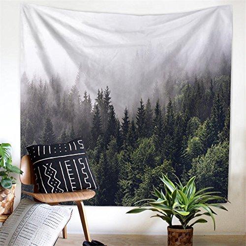 """QEES Wandteppich Geheimnisvoll Natürlich Grünes Wald Wanddeko Wandbenhang Wandtuch Tischdecke Dekoration für Schlafzimmer Wohnzimmer usw.GT14 (Muster 4, 59"""" * 51"""")"""