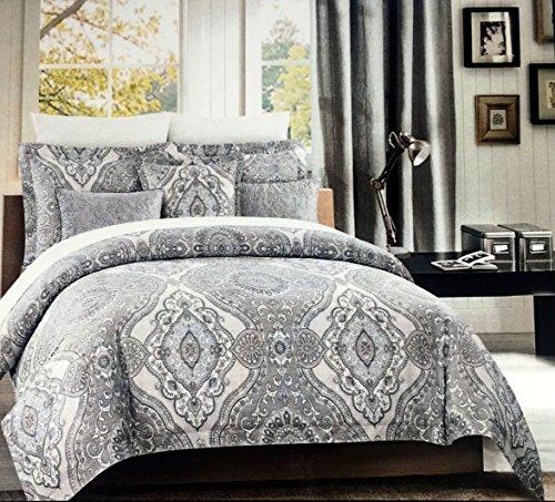 Tahari Betten 3Stück Full/Queen Size Luxus Baumwolle Bettbezug Set Geometrische Blumenmuster Kunstvoller komplizierte Medaillon Muster in Den Farben Grau Creme Weiß - Queen-size-standard-tröster