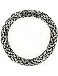 TOC Oxidised Silvertone Maximum Metal 8mm Elasticated Stretch Bracelet