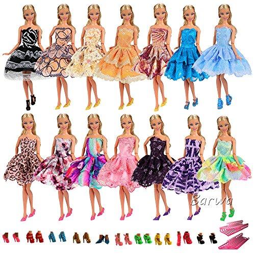 Miunana 15 Artículos = 5x Vestidos de Corto + 5 pares Zapatos y 5 Perchas Vestir Ropa Casual Accesorios como Regalo para Barbie Muñeca Doll