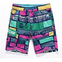 Pantalones de playa de los hombres de verano enrejado de la personalidad de los hombres pantalones cortos flojos de los hombres de Europa y los Estados Unidos sección delgada de la manera pantalones de jogging de secado rápido