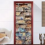 Wandaufkleber nach Hause 3D personalisierte dekorative Tür Aufkleber Schlafzimmer Tür Renovierung, Farbe Ziegel Wandaufkleber 77 × 200 cm