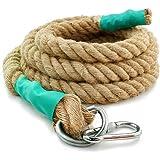 Aoneky Cuerda para Trepar de Yute - 30/40mm, 3-9M, Cuerda de Escalada con Mosquetón, Cuerda de Trepa para Crossfit Entrenamie
