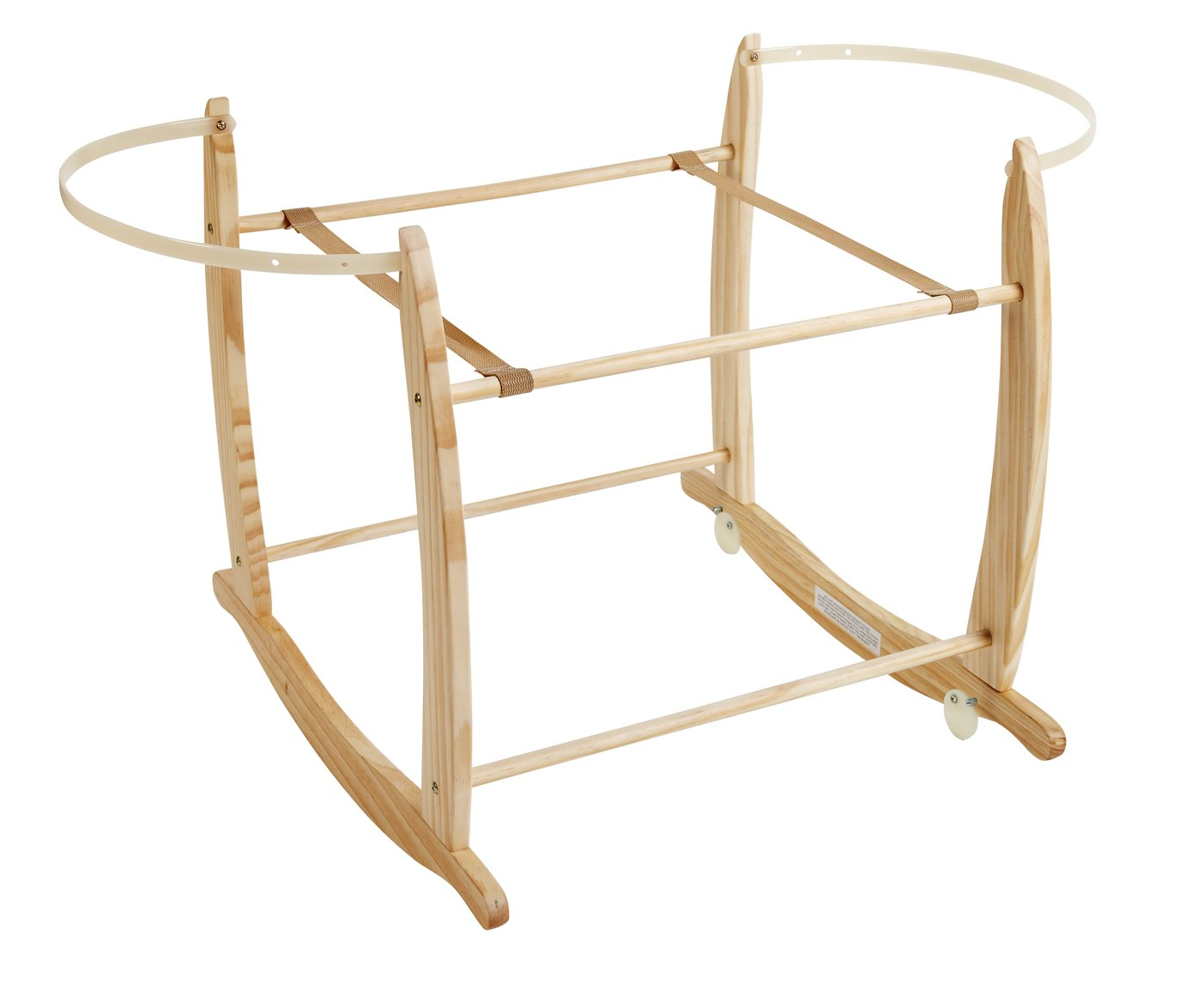 Clair de Lune Deluxe Rocking Moses Basket Stand (Natural)  A sturdy pine Moses basket stand rocks gently side to side to help soothe your baby to sleep. Adjustable plastic retaining bars ensure that your basket is securely held in place. Comes complete with stoppers so the basket can be locked into a stationary position. 1