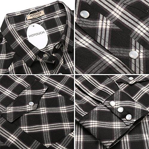 HOTOUCH Herren Hemd Kariert Langarmhemd Slim Fit Bügelfrei Freizeit aus Baumwolle mit Kentkragen Typ2-Weiß/Schwarz