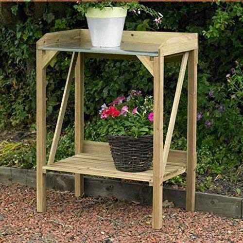 HomeZone Garden Mile® Wooden Garden Potting Bench Outdoor Plant Work Bench Station Greenhouse Flower Table Tool Storage Shelf Ideal Gardeners Gift