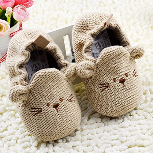 ROPALIA Unisexbaby Karikatur-nette Schuhe Solide Baby-weiche warme Schuhe Khaki
