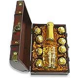 Monsterzeug Schatztruhe mit Sekt und Schokolade, Goldtruhe mit Piccolo und Süßem, Edle Holztruhe gefüllt mit Goldflocken, Sektflasche und Süßigkeiten, Geschenkset Pralinen und Schaumwein