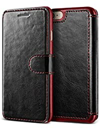 VRS Design iPhone 8 Case/iPhone 7 Case [Black] High Quality PU Leather Case | Layered Dandy | Flip Wallet Cover with 3 Card Slots for Apple iPhone 8/Apple iPhone 7