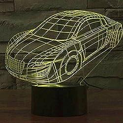 Youzone Panel mágico 3D Ilusión de visualización óptica 7 colores Cambiar interruptor táctil USB Lámpara de mesa Bulbing Luz LED Noche Iluminación Decoración del hogar Luces del hogar (coche)