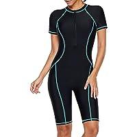 Jywmsc Women Zip Front Color Block Rashguard Short Sleeve One Piece Surfing Swimsuits Boyshort